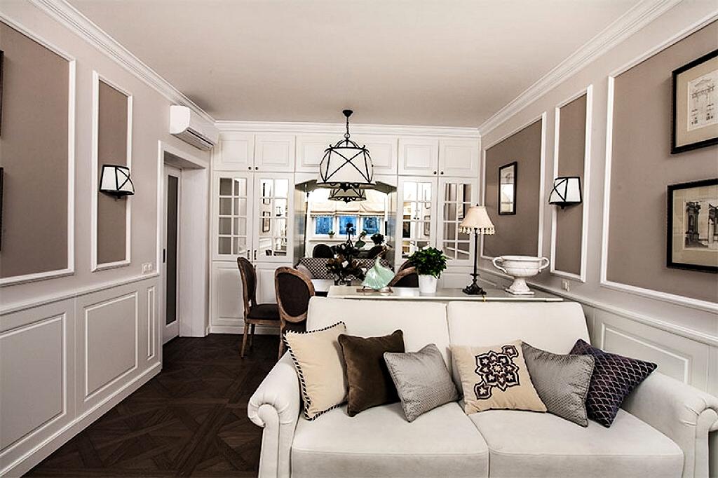 Американский стиль в интерьере комнаты и дома.